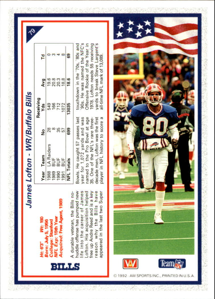 1992 All World #79 James Lofton back image