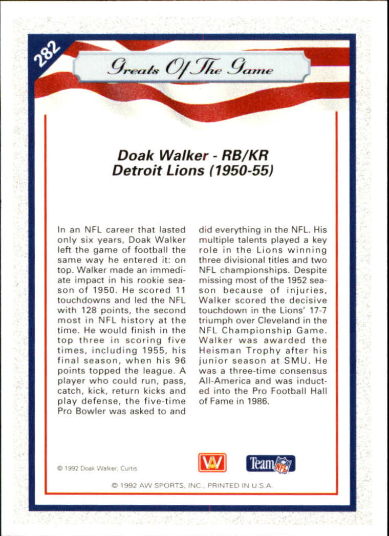 1992 All World #282 Doak Walker GG back image
