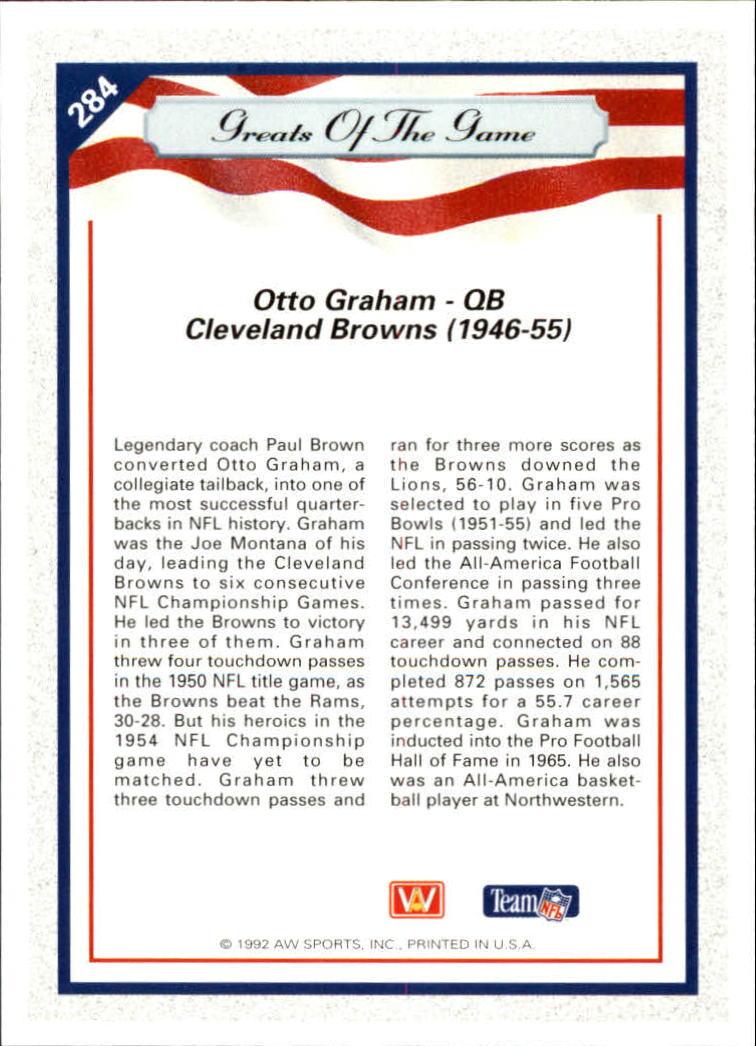1992 All World #284 Otto Graham GG back image
