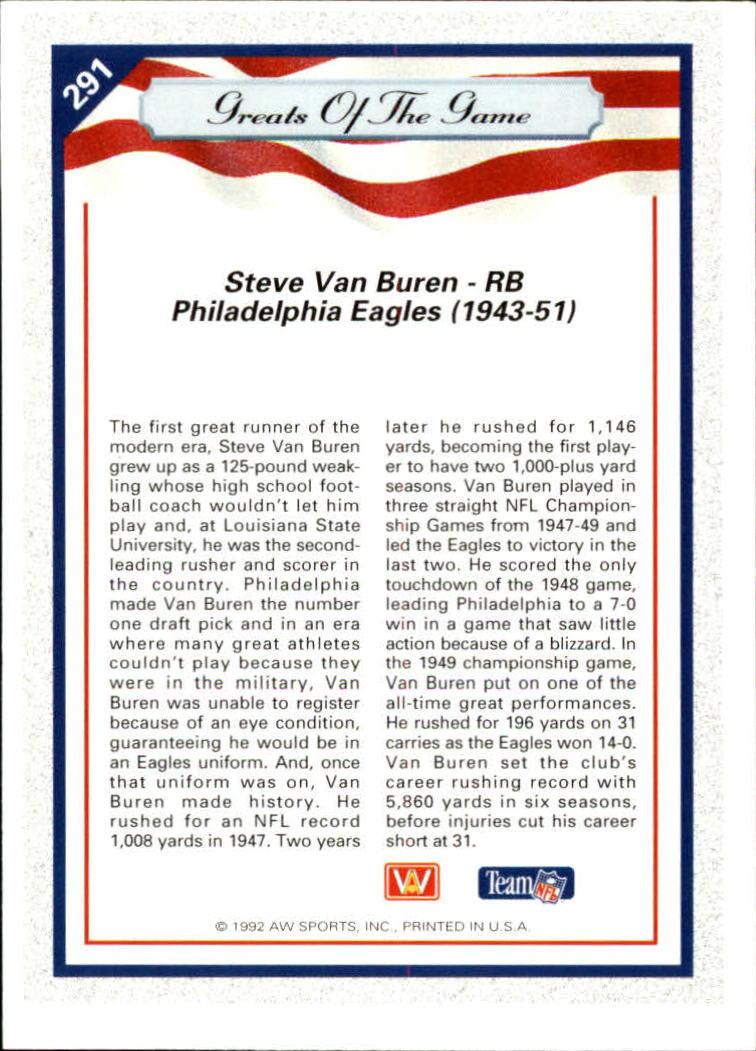 1992 All World #291 Steve Van Buren GG back image
