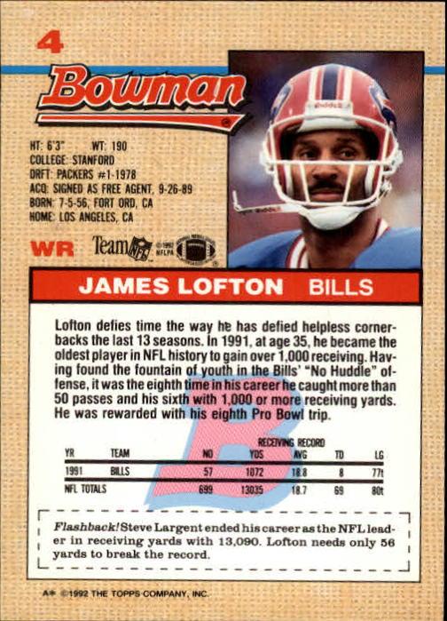 1992 Bowman #4 James Lofton back image