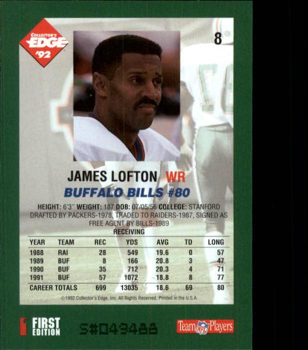 1992 Collector's Edge #8 James Lofton back image