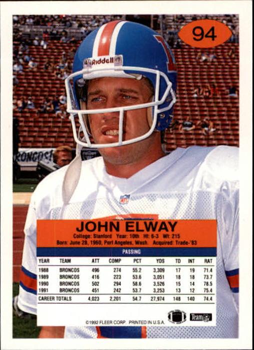 1992 Fleer #94 John Elway back image