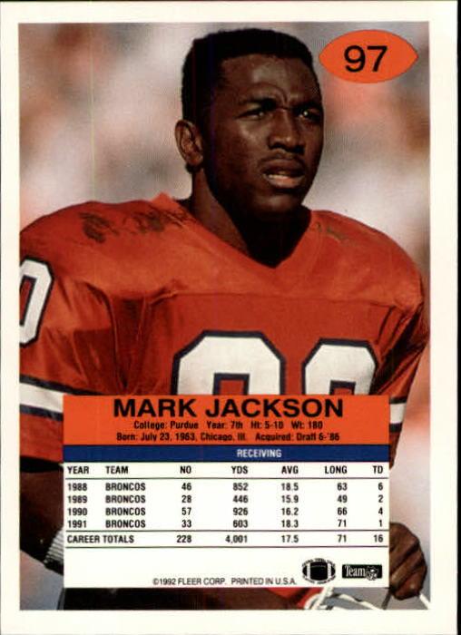 1992 Fleer #97 Mark Jackson back image