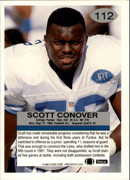 1992 Fleer #112 Scott Conover RC back image