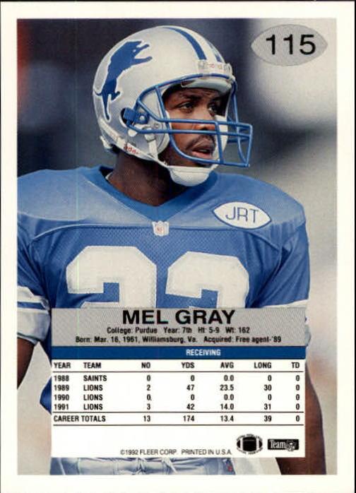 1992 Fleer #115 Mel Gray back image
