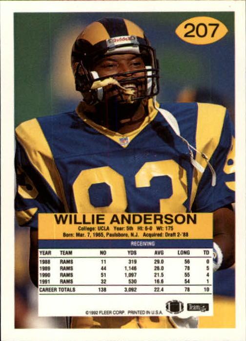 1992 Fleer #207 Flipper Anderson back image