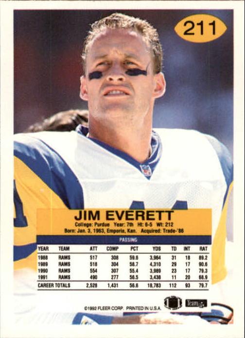 1992 Fleer #211 Jim Everett back image