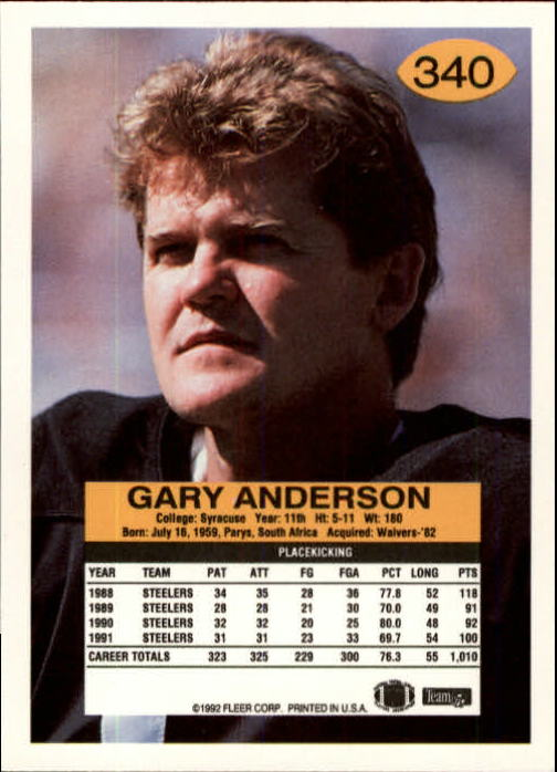 1992 Fleer #340 Gary Anderson K back image