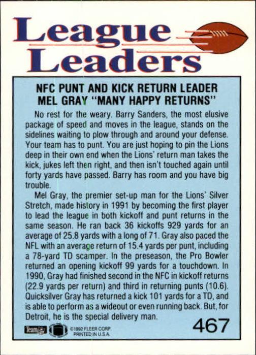 1992 Fleer #467 Mel Gray LL back image