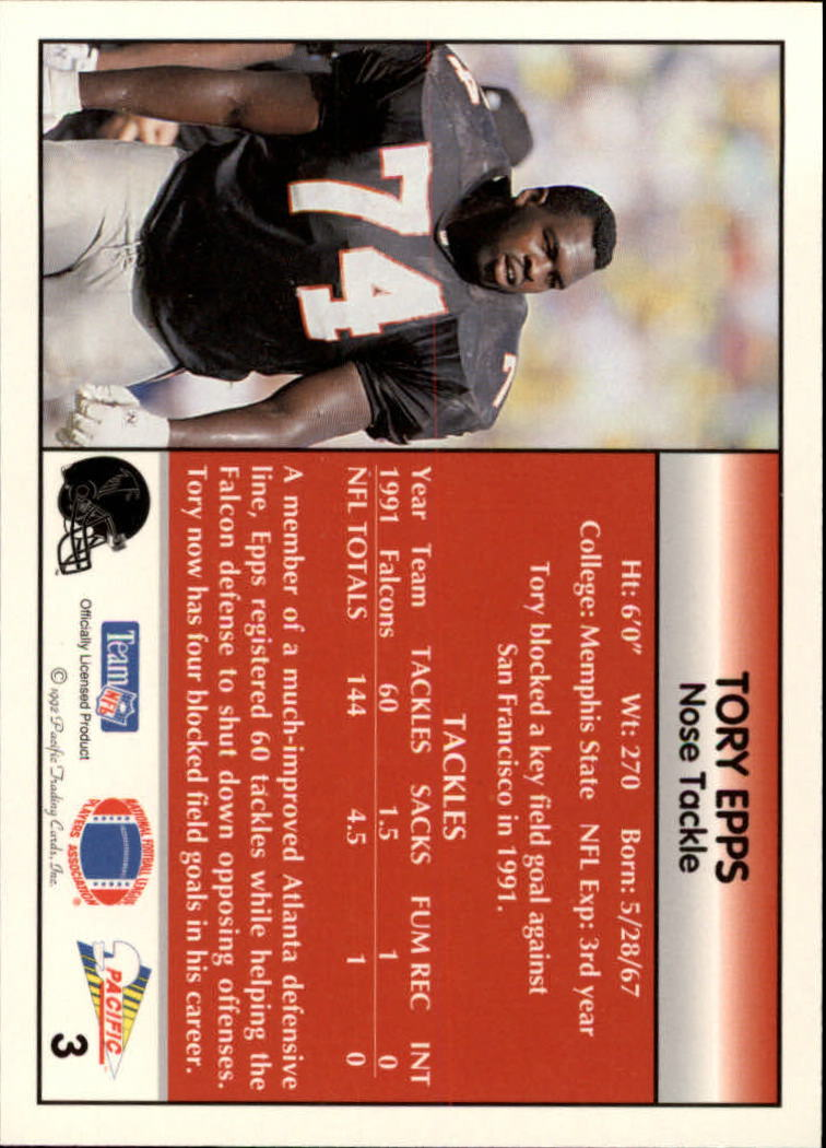 1992 Pacific #3 Tory Epps back image