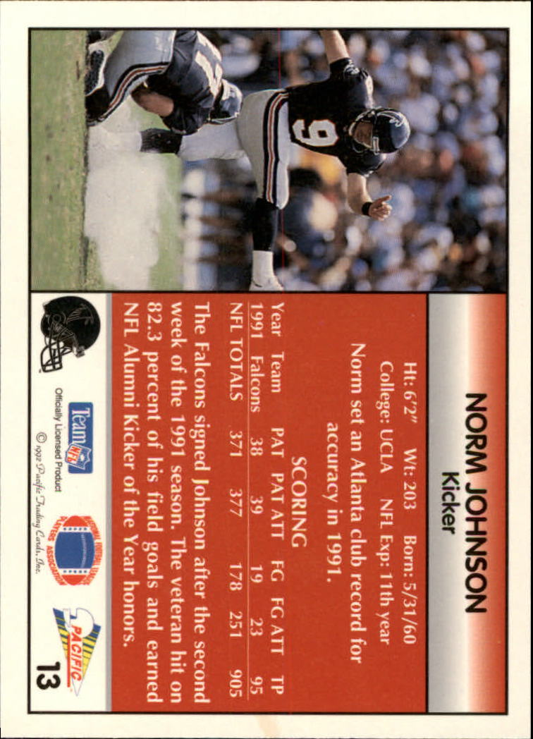 1992 Pacific #13 Norm Johnson back image