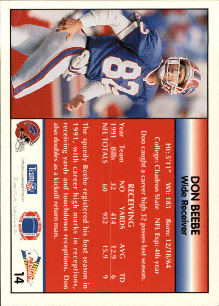1992 Pacific #14 Don Beebe back image