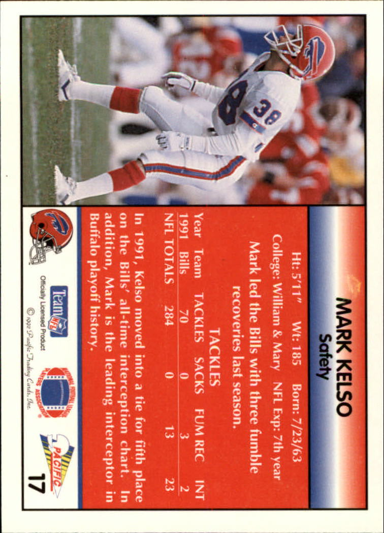 1992 Pacific #17 Mark Kelso back image