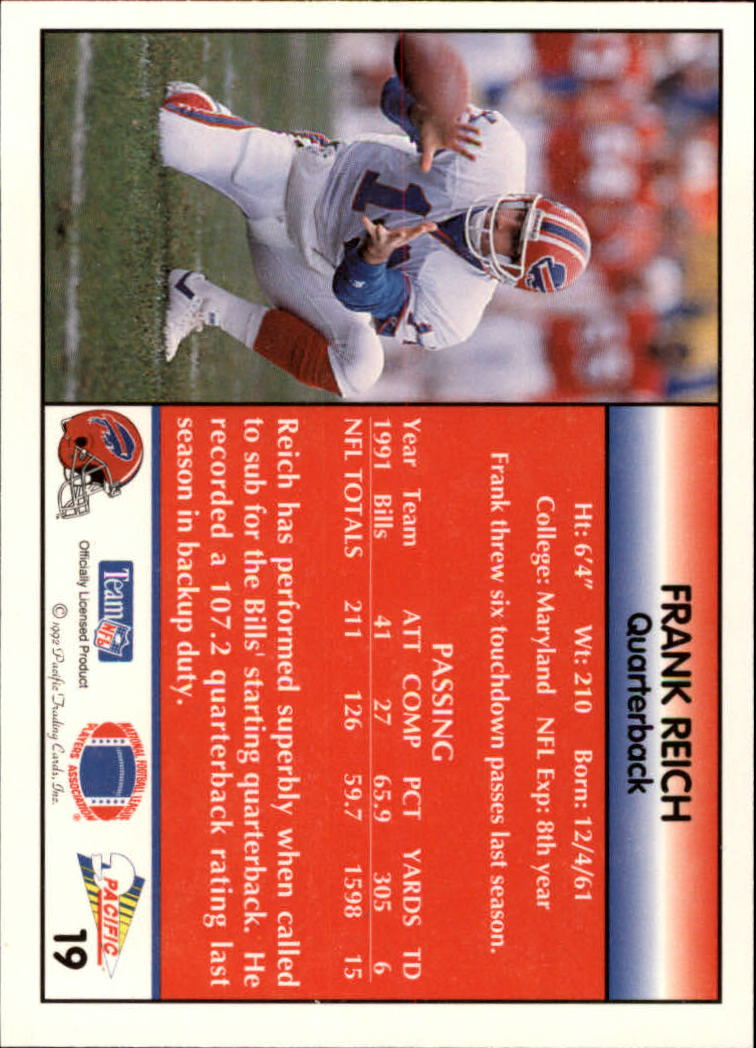 1992 Pacific #19 Frank Reich back image