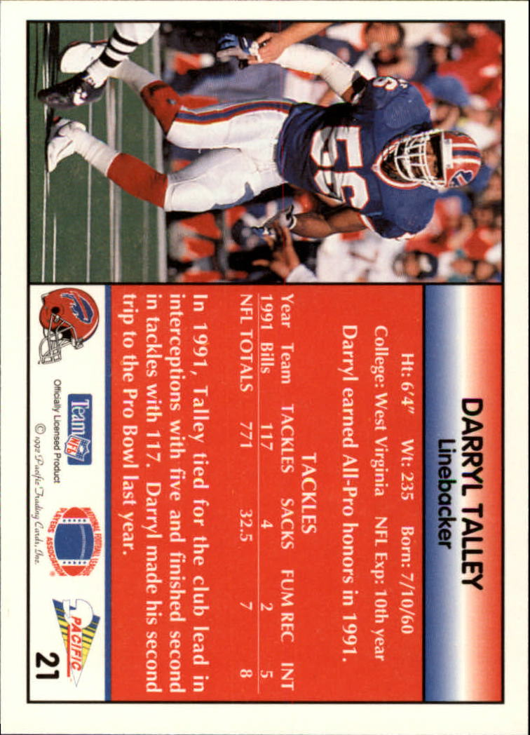 1992 Pacific #21 Darryl Talley back image