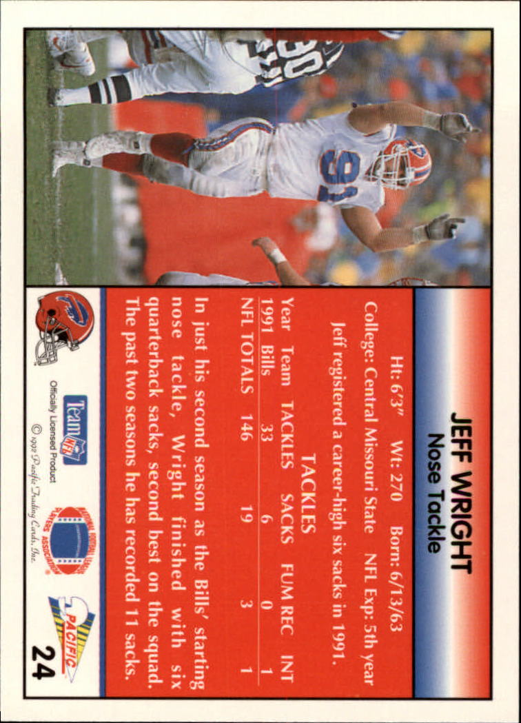 1992 Pacific #24 Jeff Wright back image