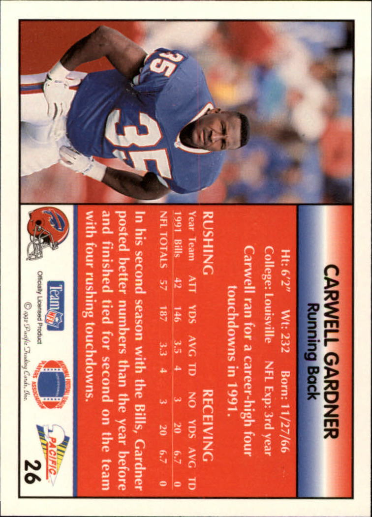 1992 Pacific #26 Carwell Gardner back image