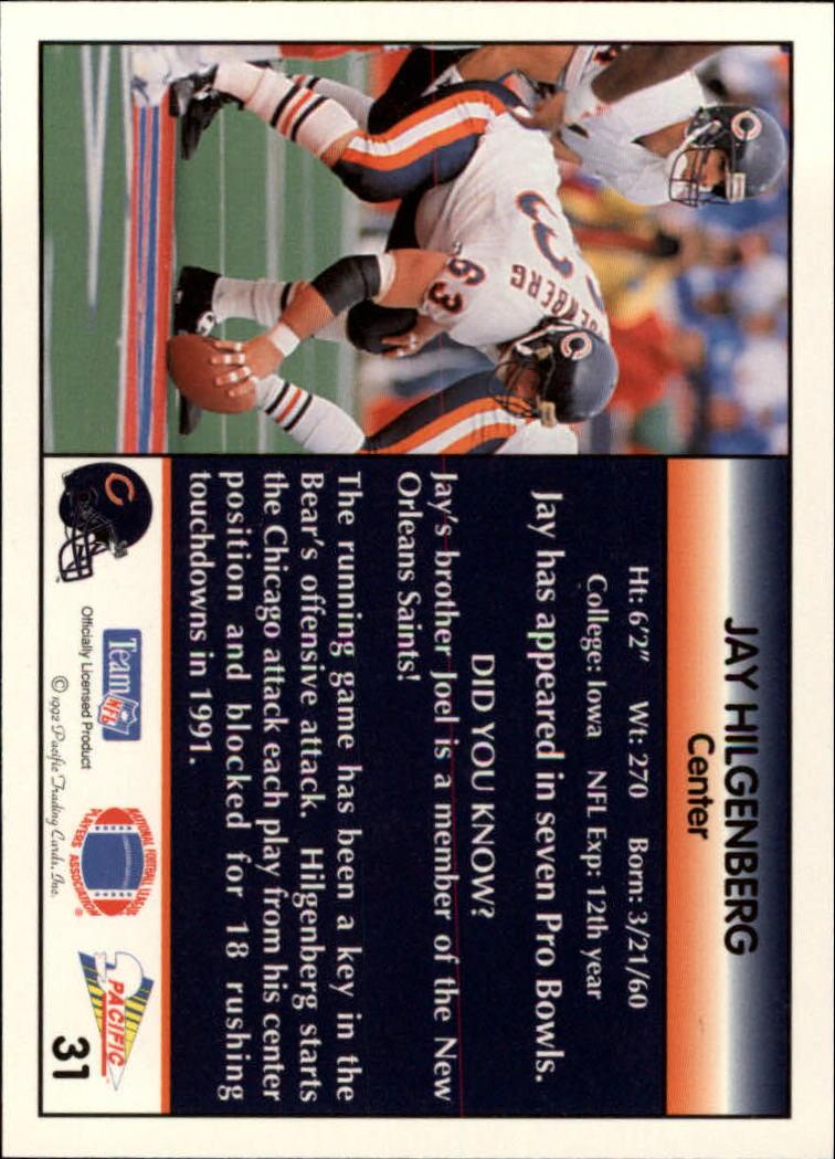 1992 Pacific #31 Jay Hilgenberg back image