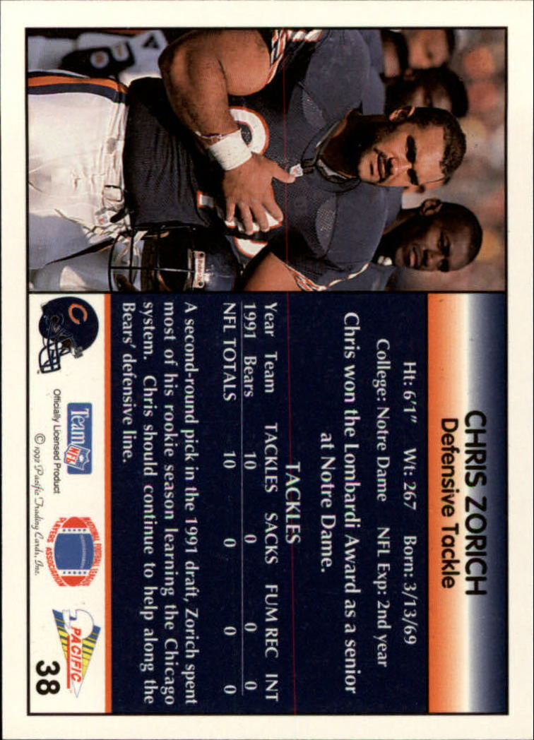 1992 Pacific #38 Chris Zorich back image