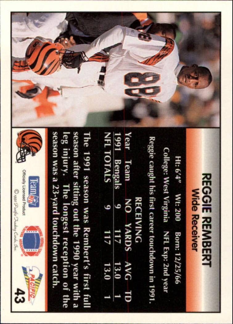 1992 Pacific #43 Reggie Rembert back image
