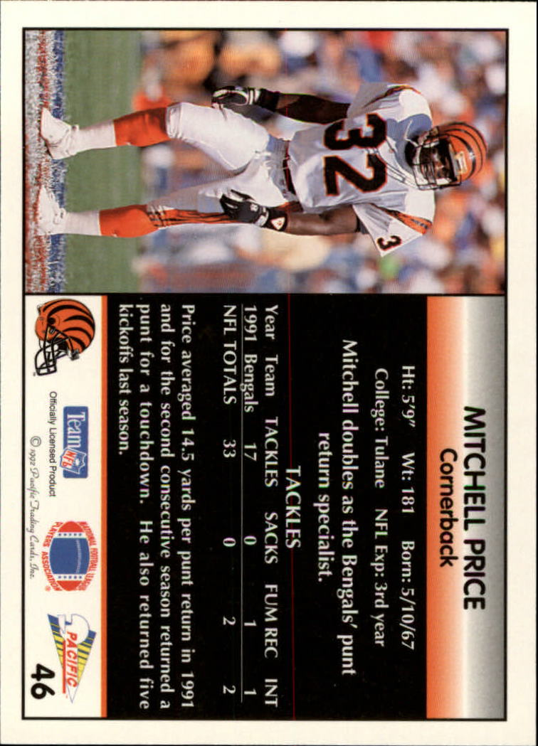 1992 Pacific #46 Mitchell Price back image