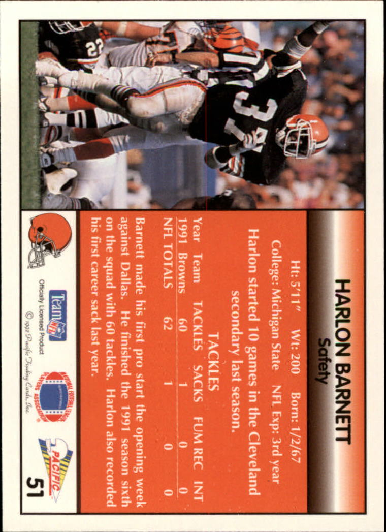 1992 Pacific #51 Harlon Barnett back image