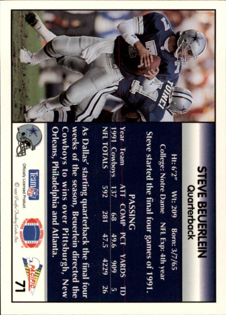1992 Pacific #71 Steve Beuerlein back image