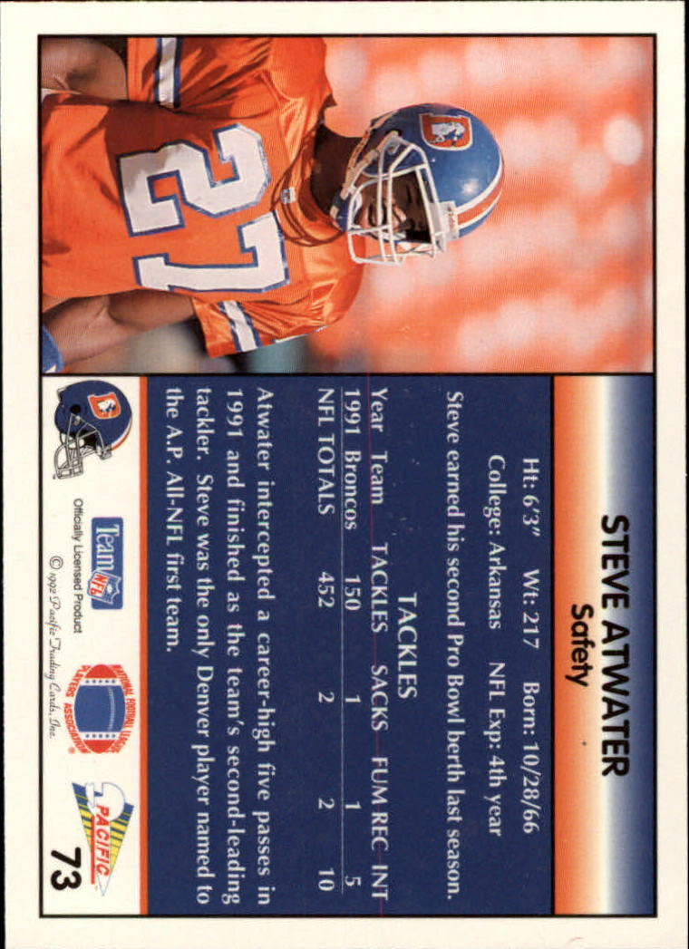 1992 Pacific #73 Steve Atwater back image