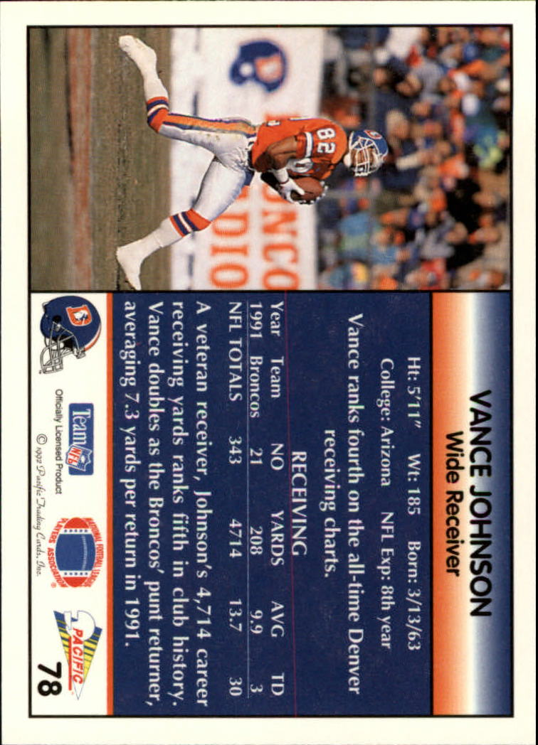 1992 Pacific #78 Vance Johnson back image