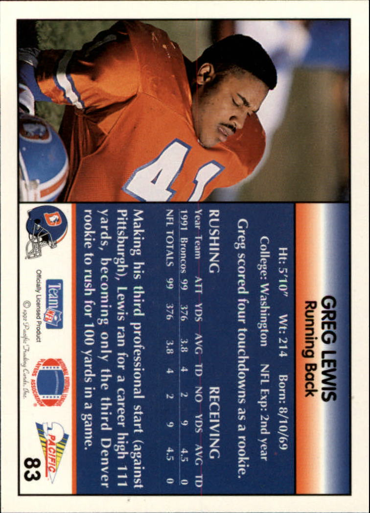 1992 Pacific #83 Greg Lewis back image