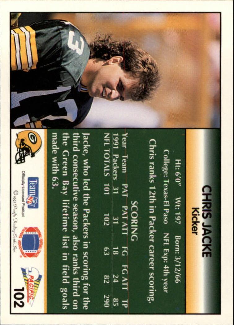 1992 Pacific #102 Chris Jacke back image