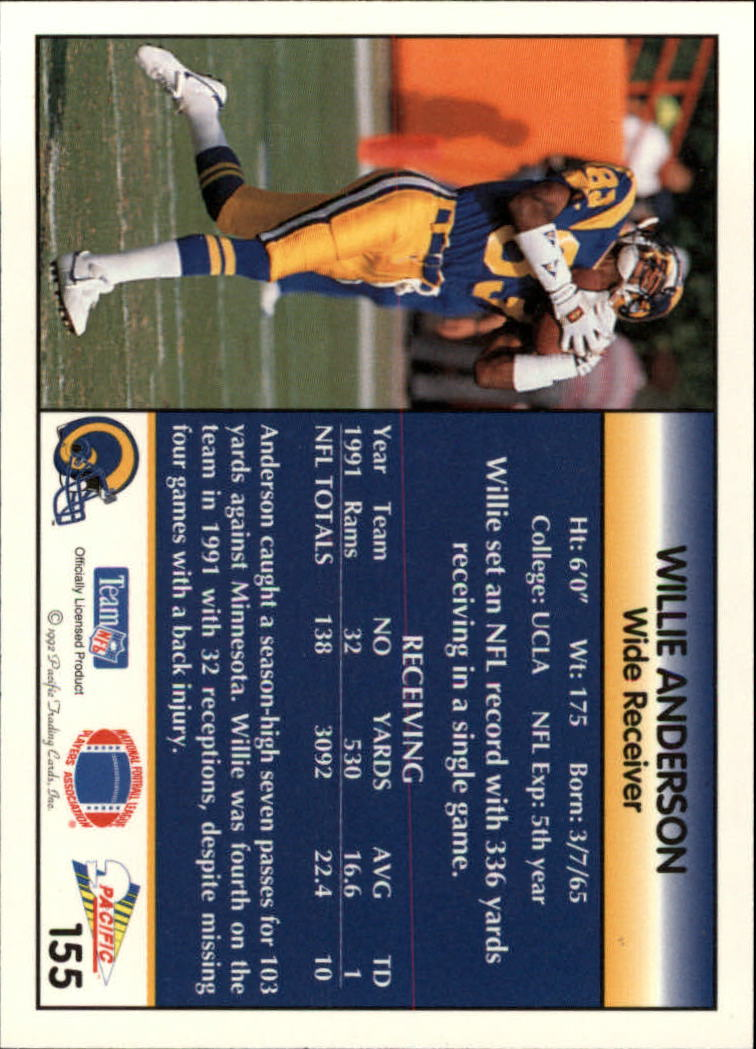 1992 Pacific #155 Flipper Anderson back image