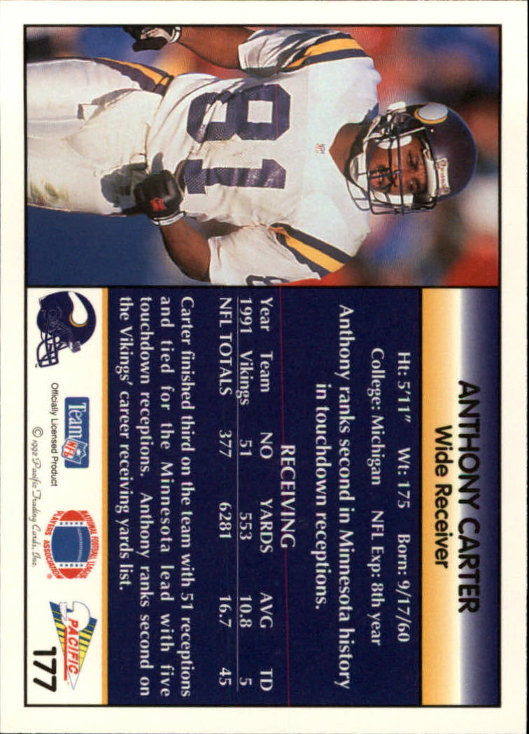 1992 Pacific #177 Anthony Carter back image