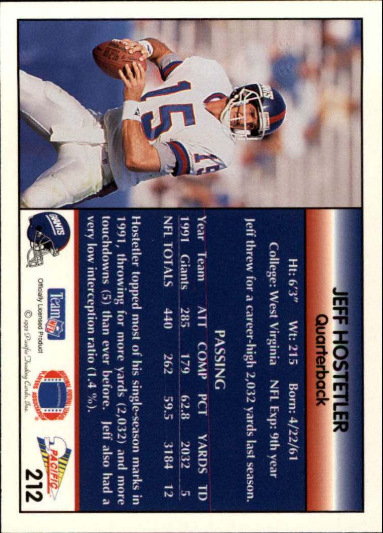 1992 Pacific #212 Jeff Hostetler back image