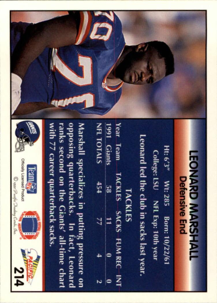 1992 Pacific #214 Leonard Marshall back image