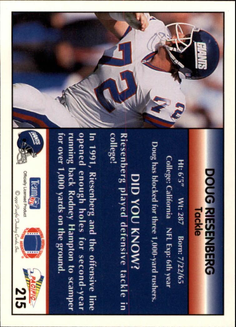 1992 Pacific #215 Doug Riesenberg back image