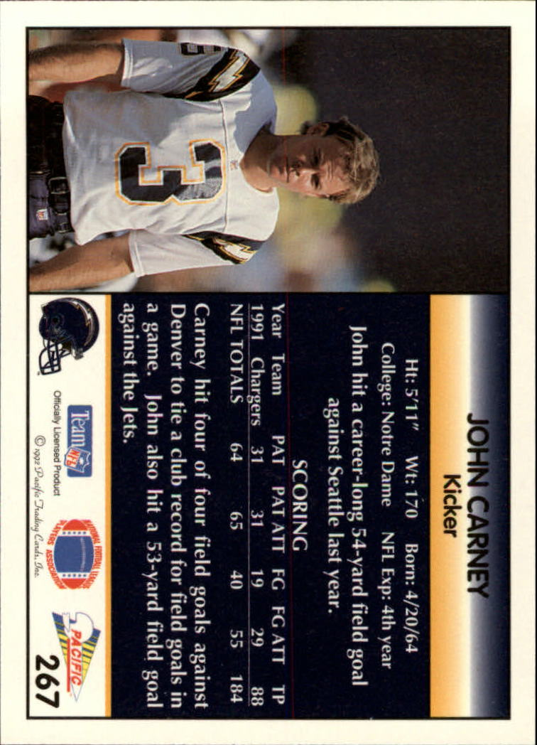 1992 Pacific #267 John Carney back image