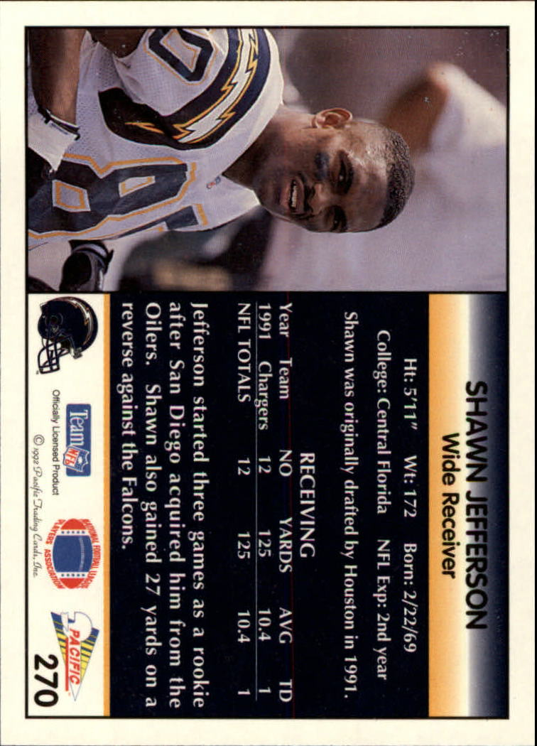 1992 Pacific #270 Shawn Jefferson back image