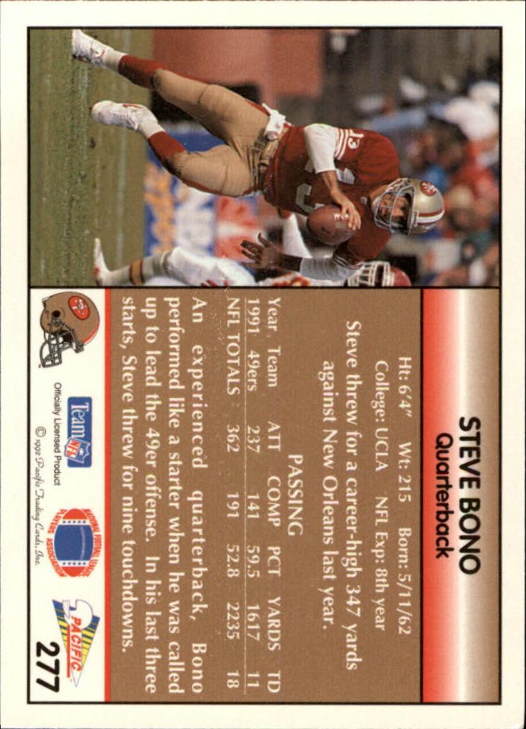 1992 Pacific #277 Steve Bono RC back image
