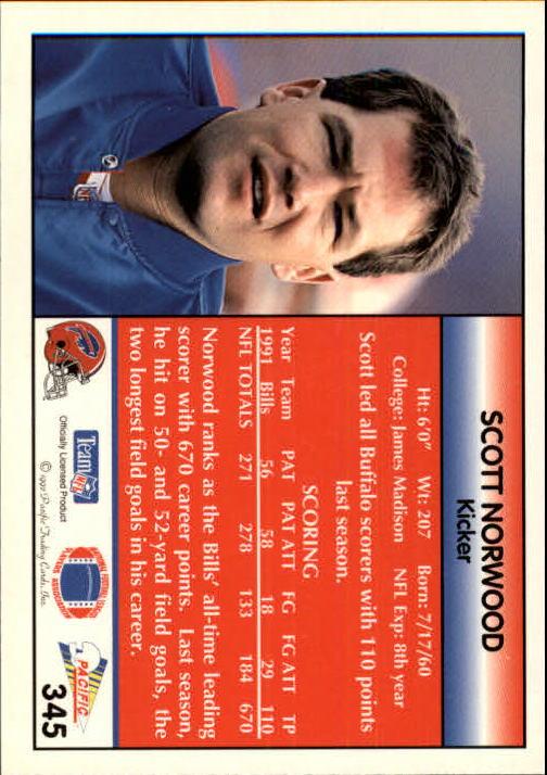1992 Pacific #345 Scott Norwood back image