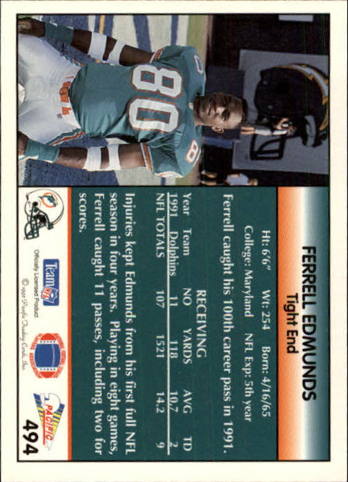 1992 Pacific #494 Ferrell Edmunds back image