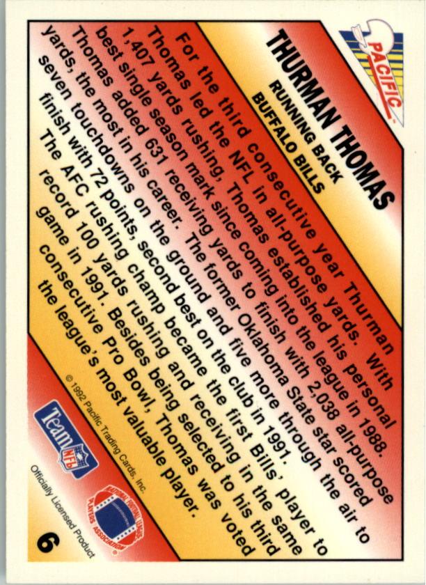 1992 Pacific Picks The Pros #6 Thurman Thomas back image