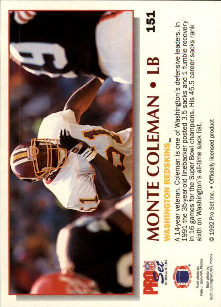 1992 Power #151 Monte Coleman back image