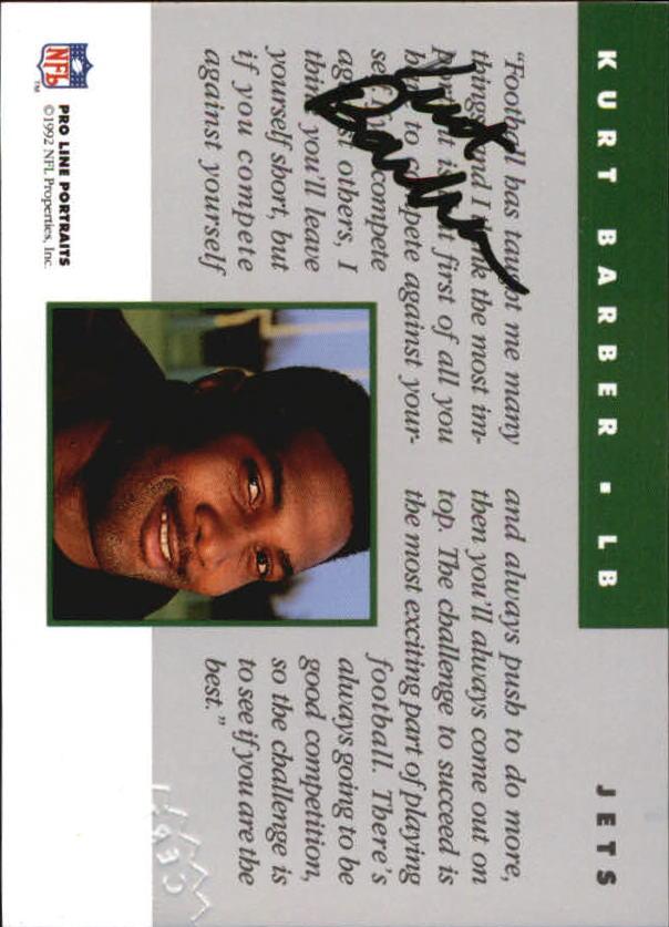 1992 Pro Line Portraits Autographs #1 Kurt Barber back image