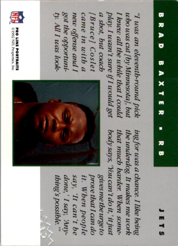 1992 Pro Line Portraits Autographs #4 Brad Baxter back image