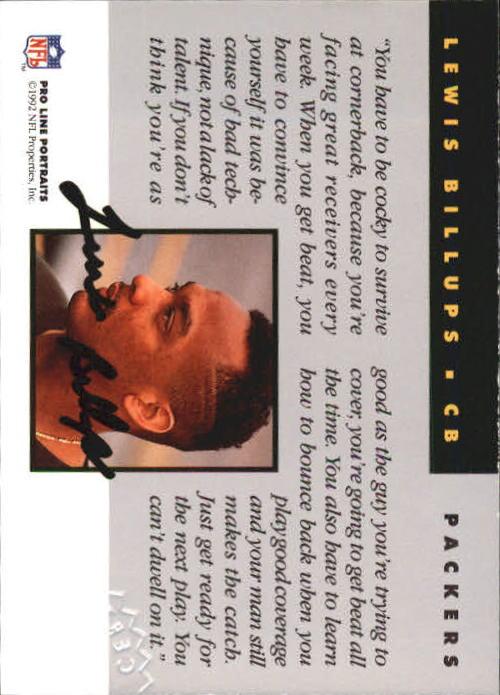 1992 Pro Line Portraits Autographs #7 Lewis Billups back image
