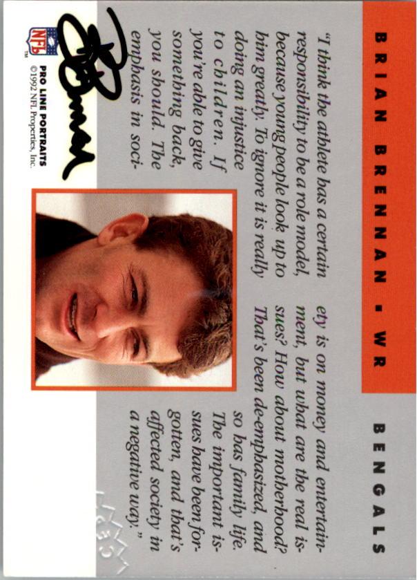 1992 Pro Line Portraits Autographs #8 Brian Brennan back image