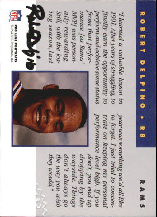 1992 Pro Line Portraits Autographs #36 Robert Delpino back image