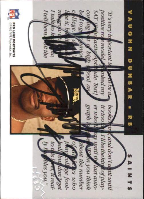 1992 Pro Line Portraits Autographs #39 Vaughn Dunbar back image